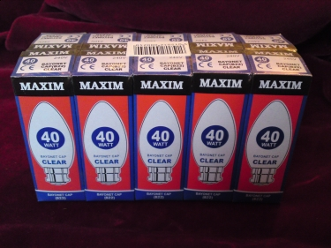 Maxim  B22 - CLEAR - 40 WATTS - BC SORRY OUT OF STOCK
