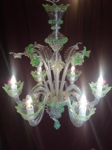 Green murano handmade chandelier aloadofball Images