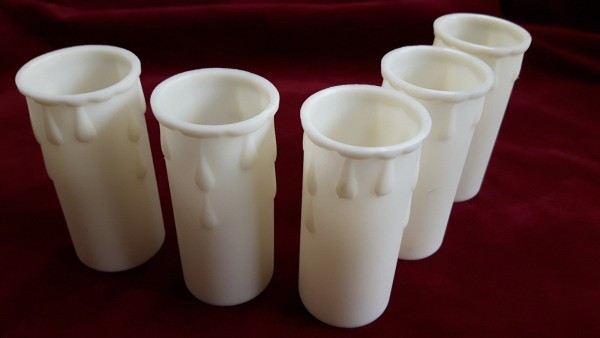 English white  - ivory plastic drip candle tubes 70mm height x 28mm internal diameter