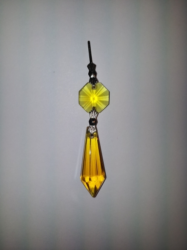 Amber Glass Chandelier Drop and Button