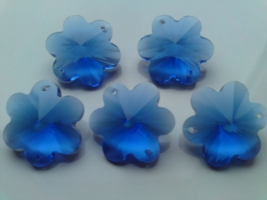 5 X BLUE CRAFT CRYSTAL BUTTONS CRYSTAL WEDDING FLOWERS