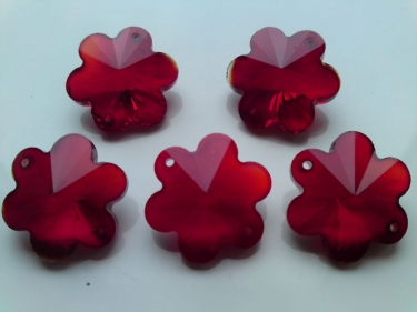 5 X RED CRYSTAL CHANDELIER BUTTONS CHANDELIER FLOWERS