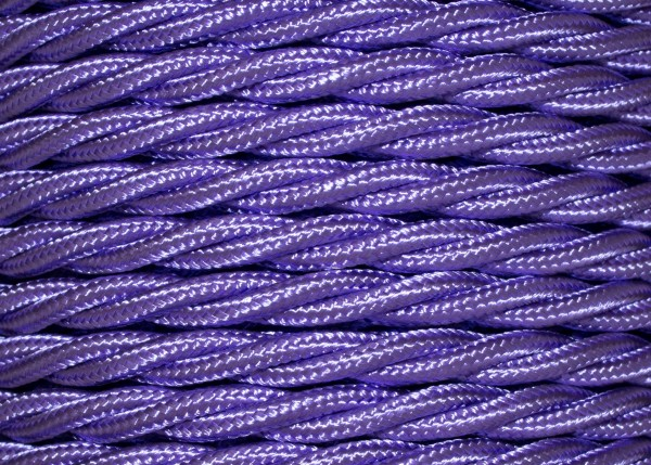100 METRES of Braided 3 core silk flex lighting cable violet 0.75mm