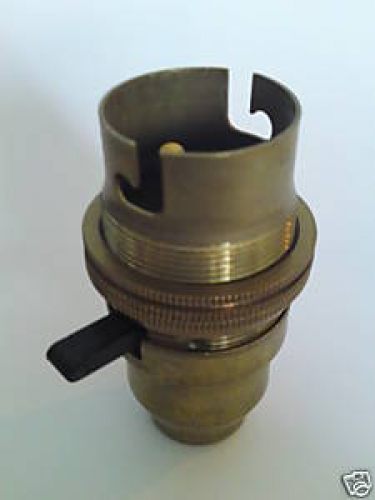 Switched bulb-lamp holder B22 Antique Brass Finish C