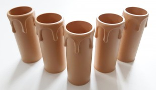 drip plastic candle tubes in brown 70mm height x 27mm internal diameter