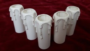 white plastic drip effect candle tubes 70mm height x 23.5mm internal 27mm external