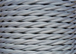 Braided silk flex silk woven electric cable in silver 3 Core 0.75mm