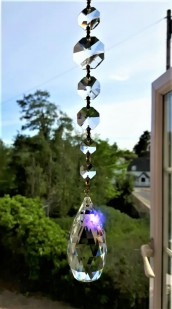 crystal pear drop with 9 swarovski octagons Sun catcher feng shui KCSL1