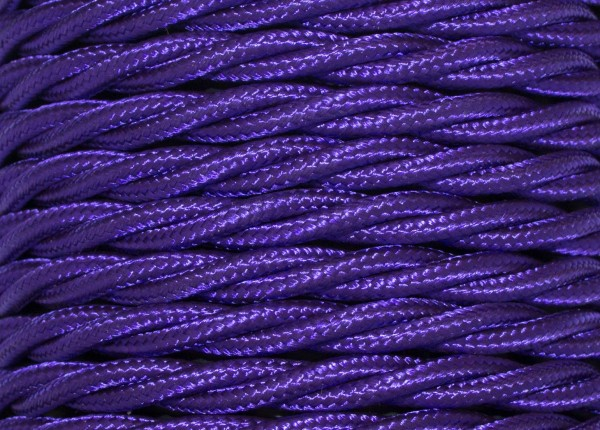 Purple Braided 3 core silk flex lighting cable0.75 mm 100 METRES