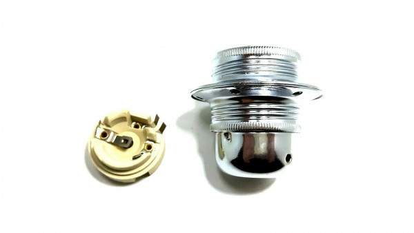 ES E27 Bulb lamp Holder 3 Part Plus Shade Rings In chrome Plated