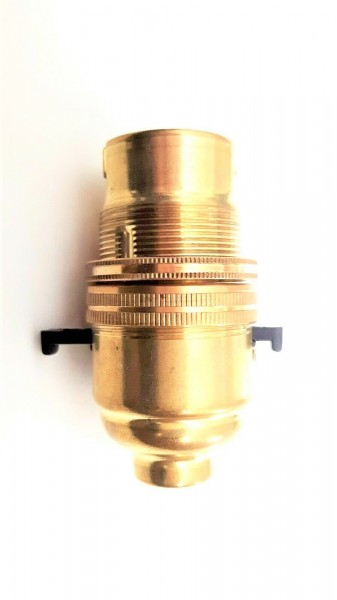 B22 Switched lamp holder Bayonet cap Brass Finish 10mm base thread